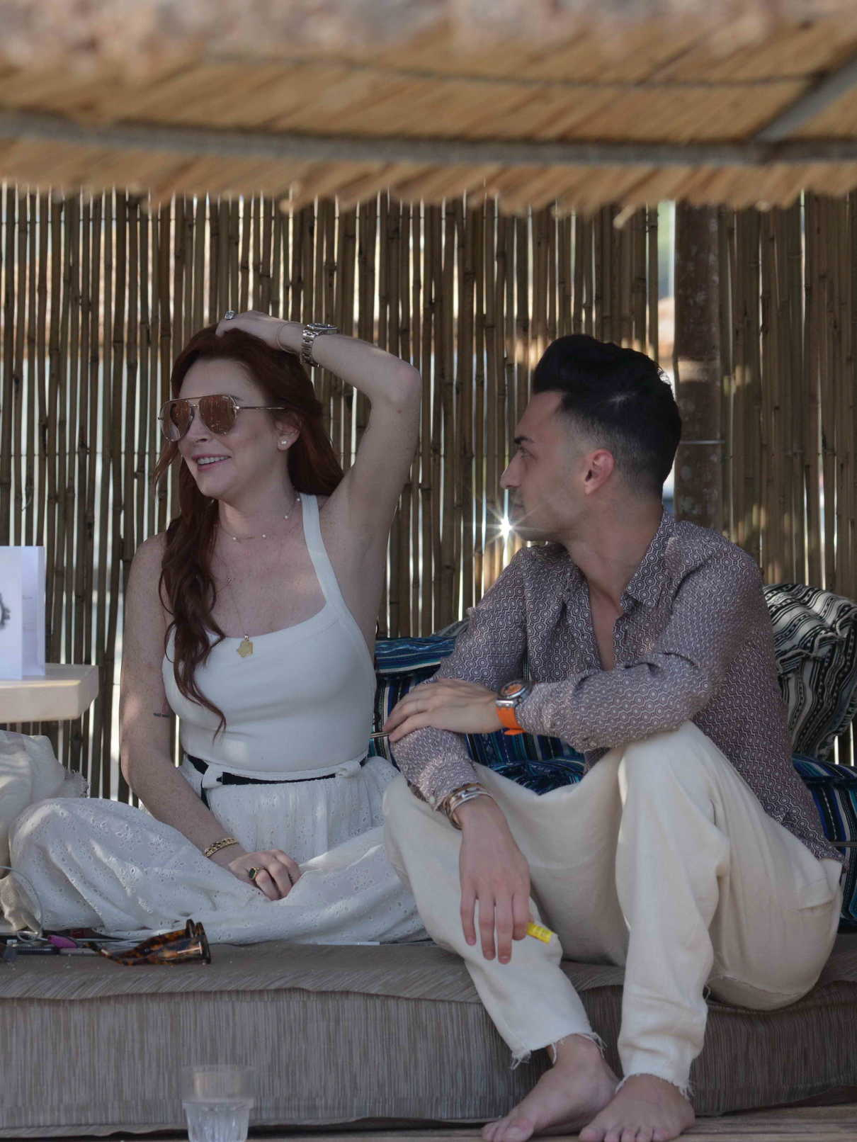 Lindsay Lohan Was Seen with Friends at a Beach Bar in Mykonos 05/26/2018-4