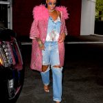 Rihanna Wears a Pink Coat as She Exits Her Hotel in New York City 05/05/2018-2