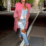 Rihanna Wears a Pink Coat as She Exits Her Hotel in New York City 05/05/2018-3