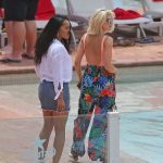 Ashley James Wears a Peach Coloured Swimsuit by the Pool in Ibiza 06/06/2018-5
