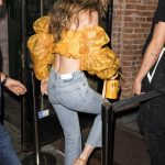 Gigi Hadid in a Yellow Lace Top Night Out in New York City 07/19/2018-5