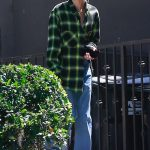 Hailey Baldwin Wears a Green Cropped Shirt Out in West Hollywood 07/20/2018-2