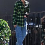 Hailey Baldwin Wears a Green Cropped Shirt Out in West Hollywood 07/20/2018-3