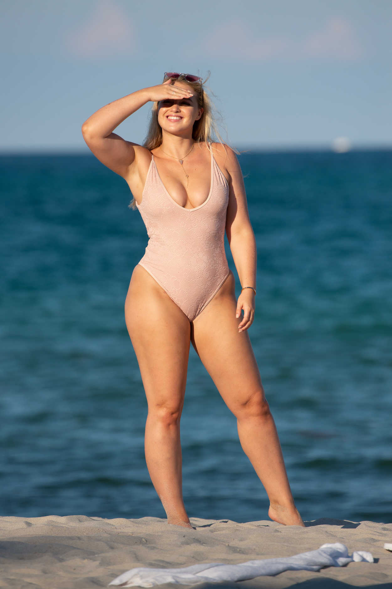 Iskra Lawrence in a Beige Swimsuit on the Beach in Miami 07/14/2018-1