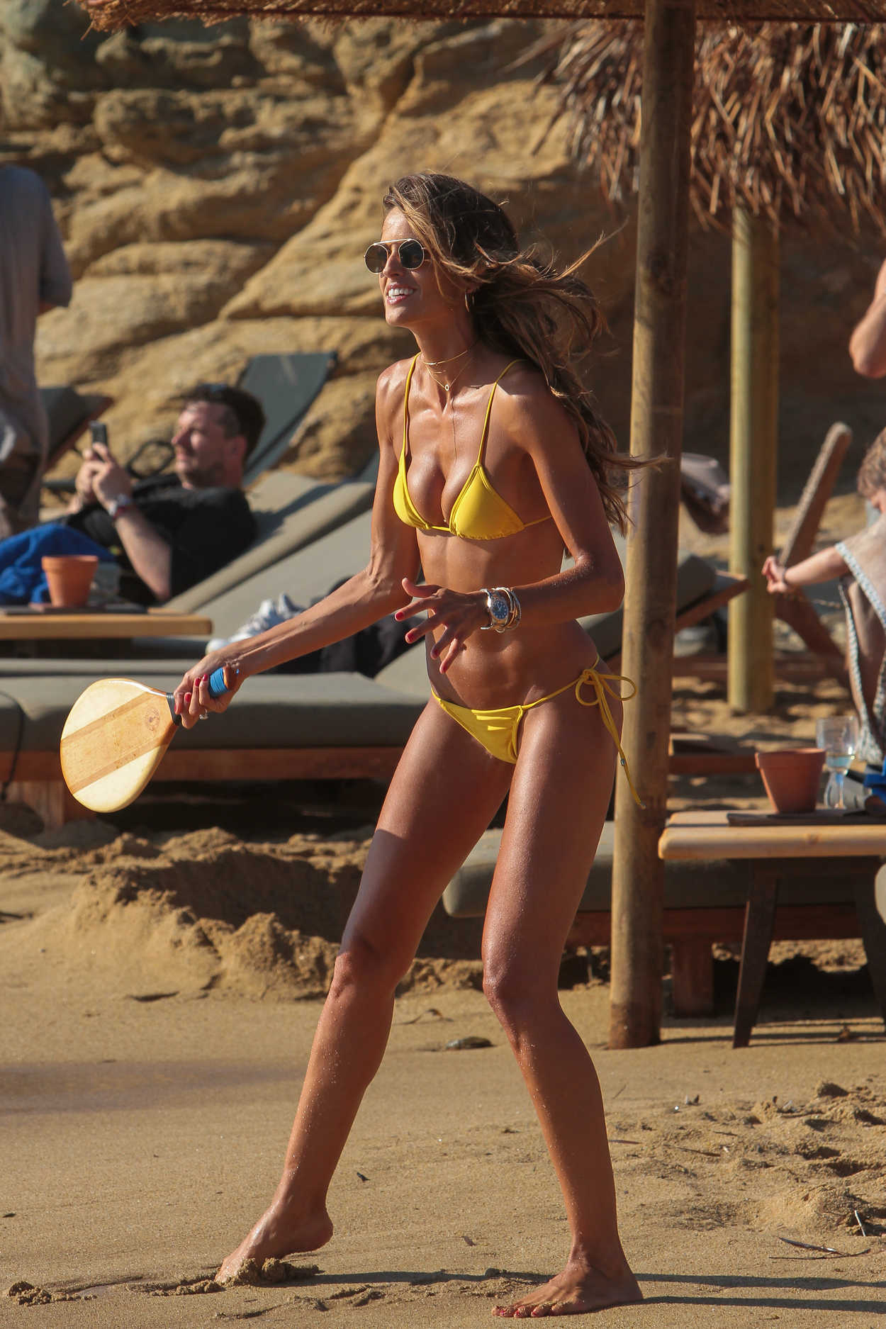 Izabel Goulart in a Yellow Bikini on the Beach in Mykonos Island 07/13/2018-1