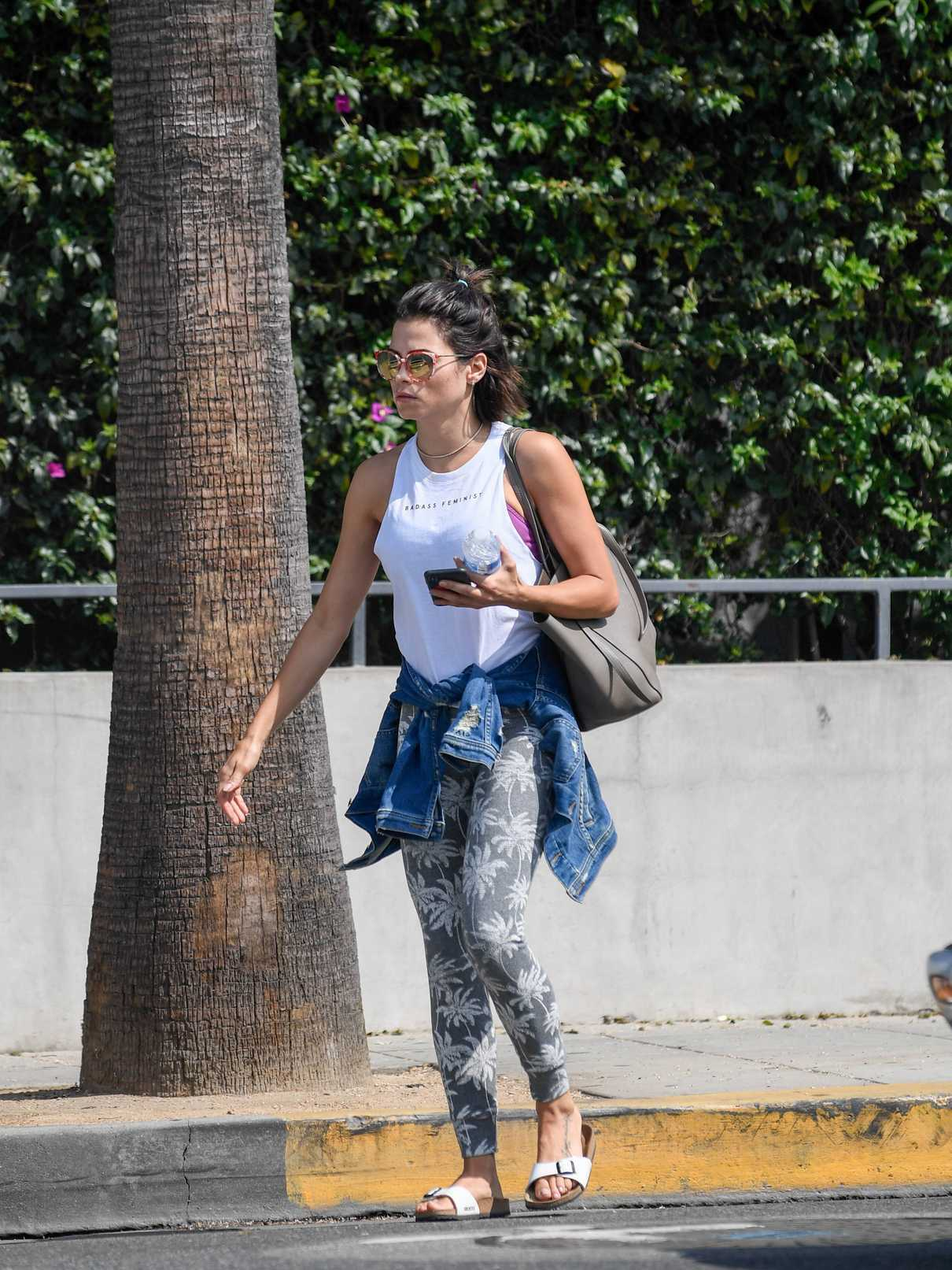Jenna Dewan Wears a White Badass Feminist Tank Top as She Leaves Her Gym in West Hollywood 07/16/2018-1