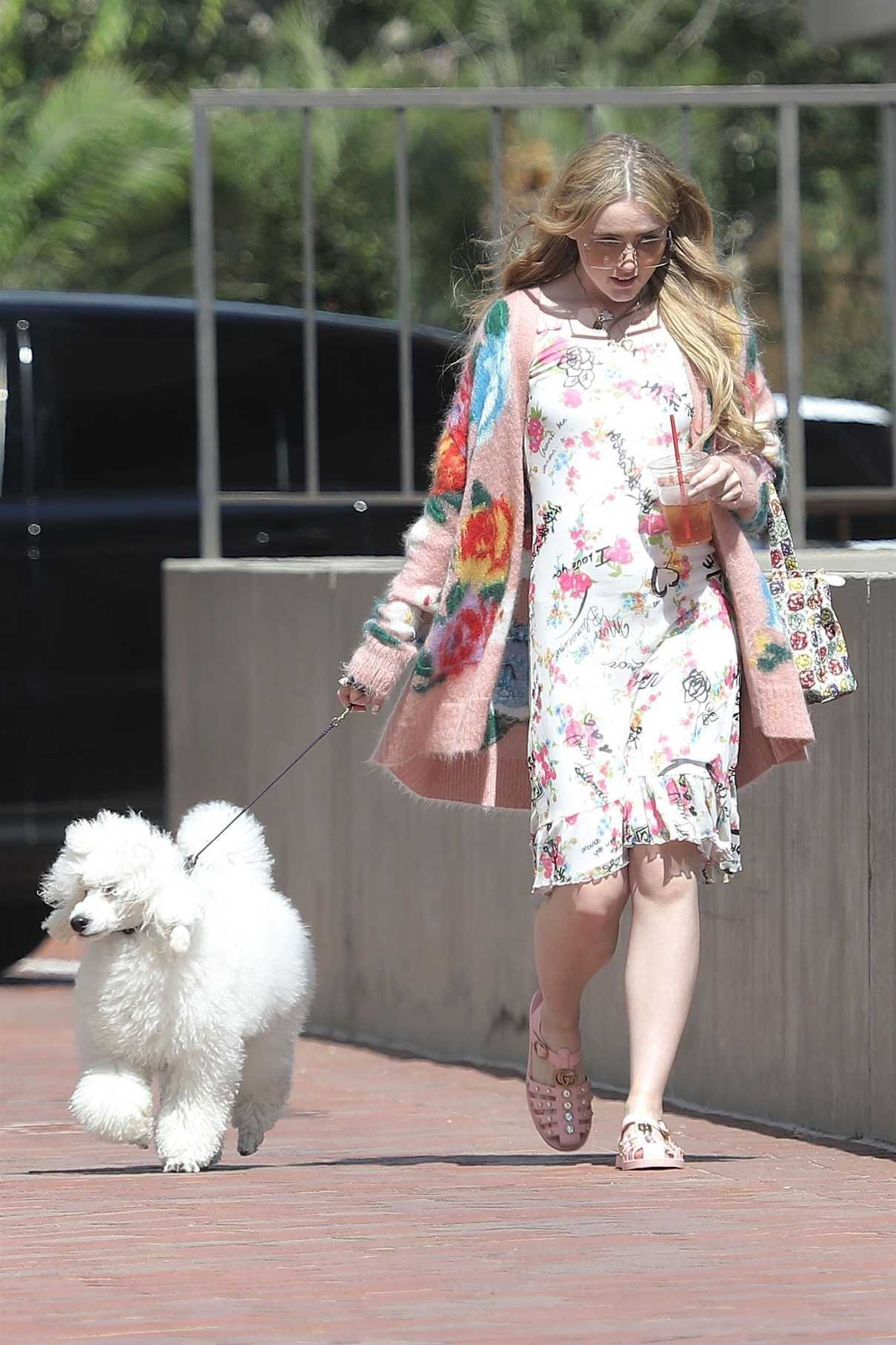 Kathryn Newton Wears a Summer Floral Dress as She Walks Her Dog in Beverly Hills 07/17/2018-1