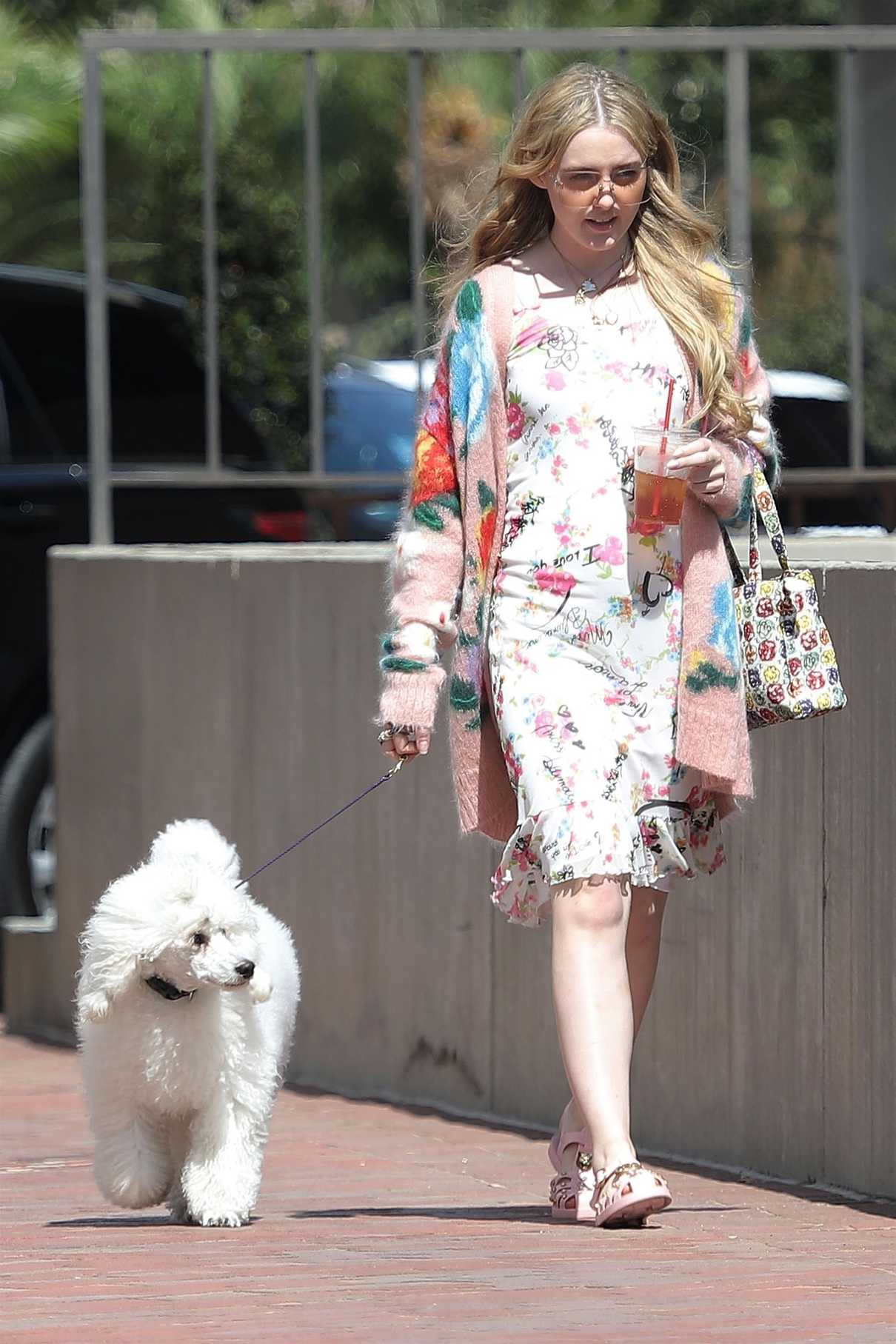 Kathryn Newton Wears a Summer Floral Dress as She Walks Her Dog in Beverly Hills 07/17/2018-2