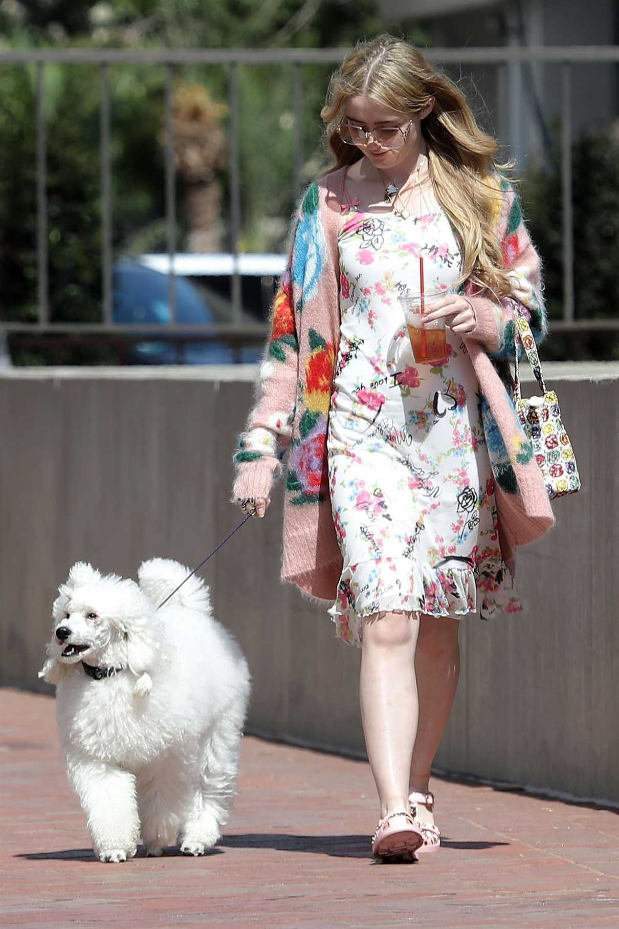 Kathryn Newton Wears a Summer Floral Dress as She Walks Her Dog in Beverly Hills 07/17/2018-4