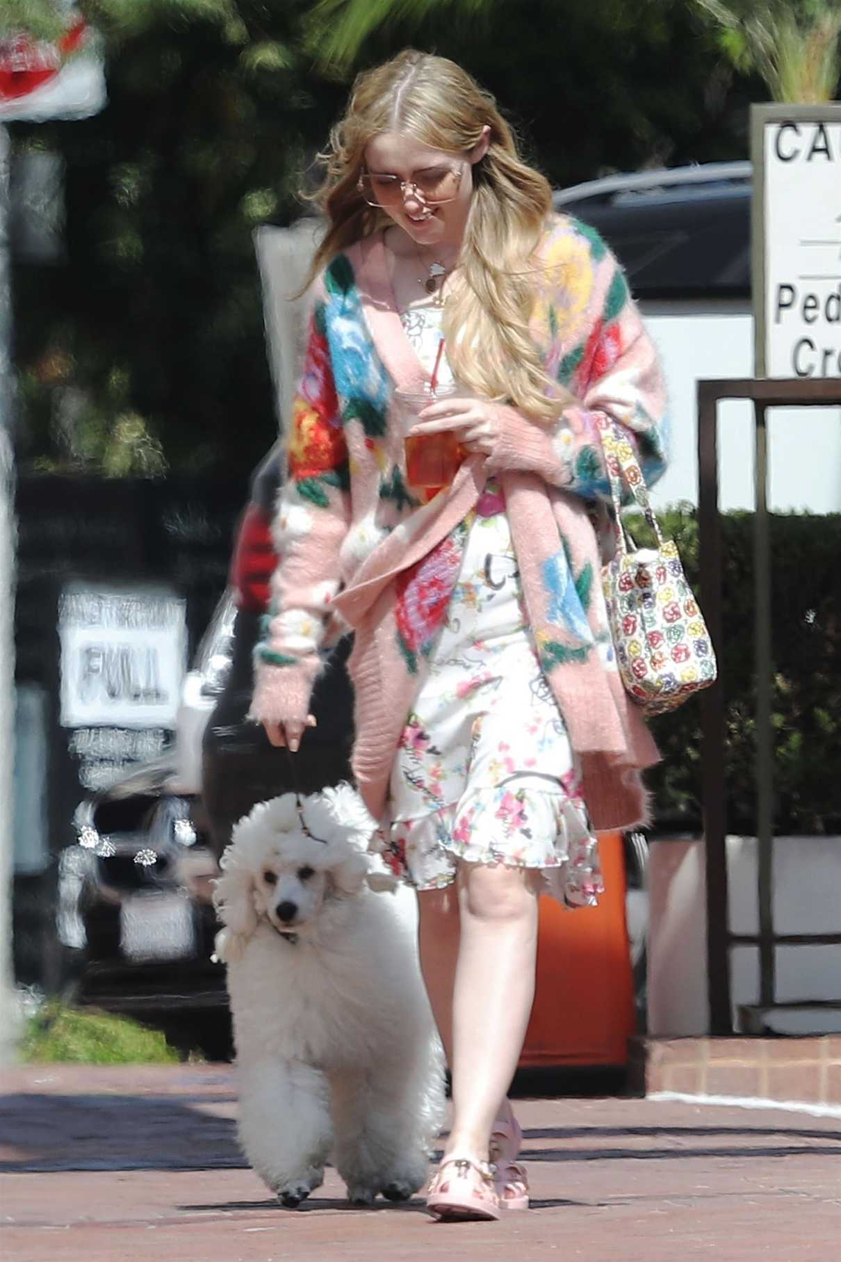 Kathryn Newton Wears a Summer Floral Dress as She Walks Her Dog in Beverly Hills 07/17/2018-5