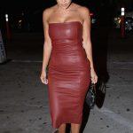 Kourtney Kardashian in a Leather Burgundy Dress