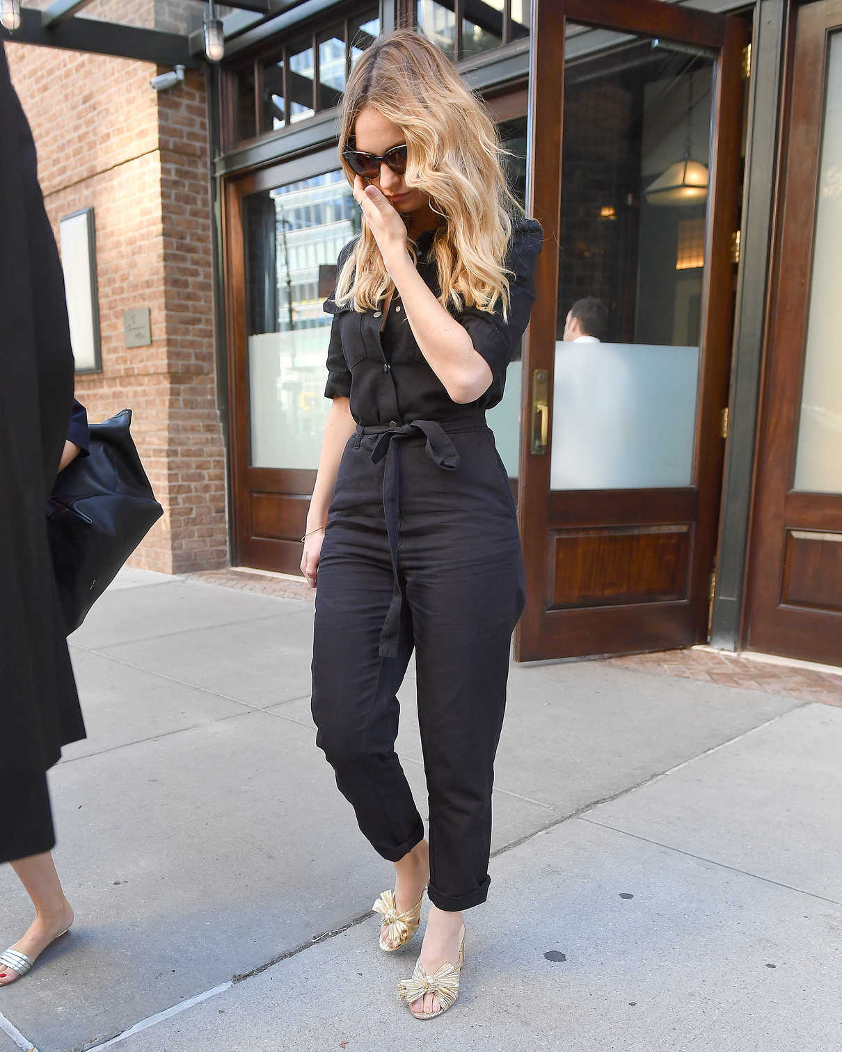 Lily James Wears a Black Overalls Out in New York 07/19/2018-1