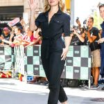 Lily James Wears a Black Overalls Out in New York 07/19/2018-2