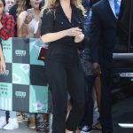 Lily James Wears a Black Overalls Out in New York 07/19/2018-5