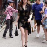 Anna Kendrick in a Black and Gold Dress