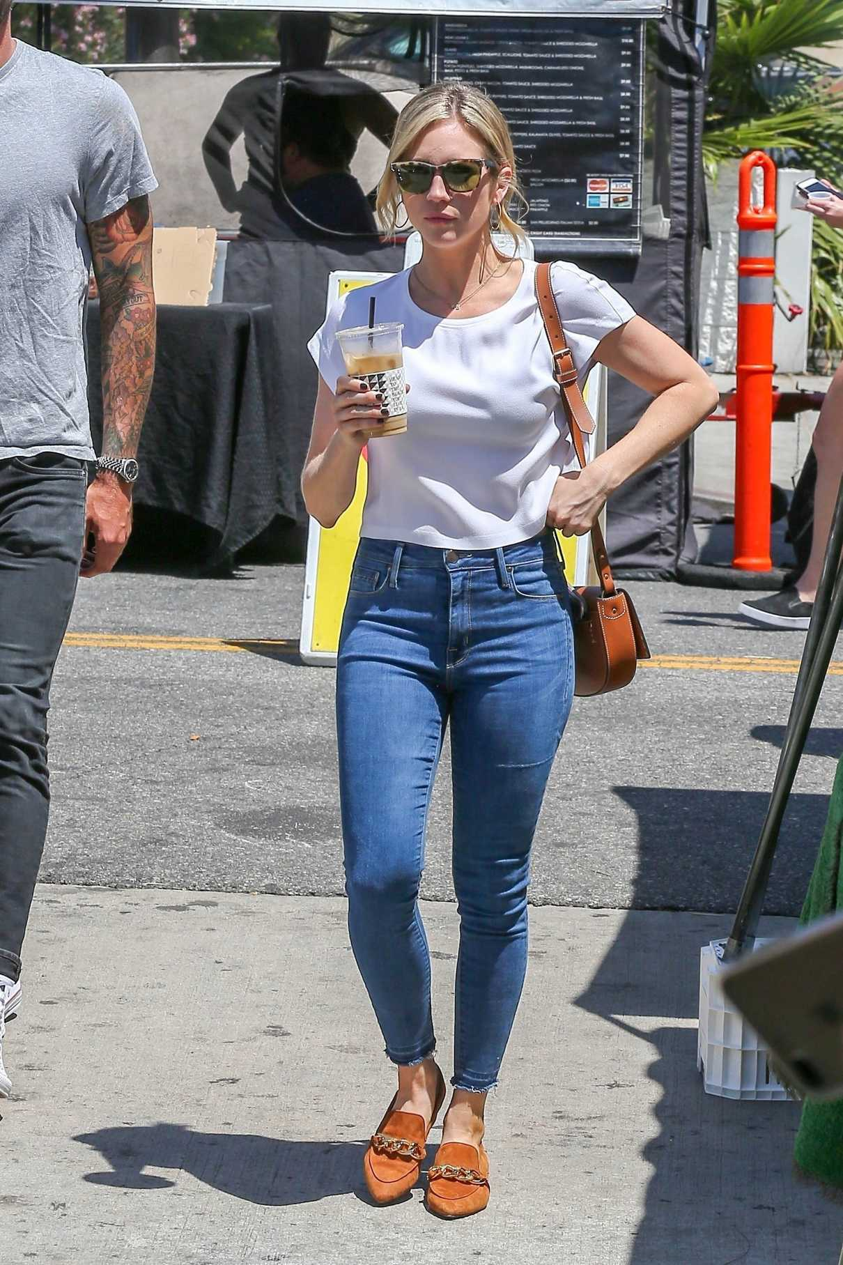 Brittany Snow in a Blue Slim Jeans