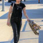 Emma Roberts in a Black T-Shirt
