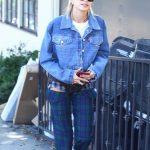 Hailey Baldwin in a Plaid Trousers