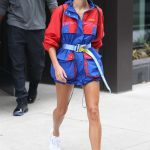 Hailey Baldwin in a Red and Blue Windbreaker