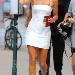 Hailey Baldwin in a Short White Dress