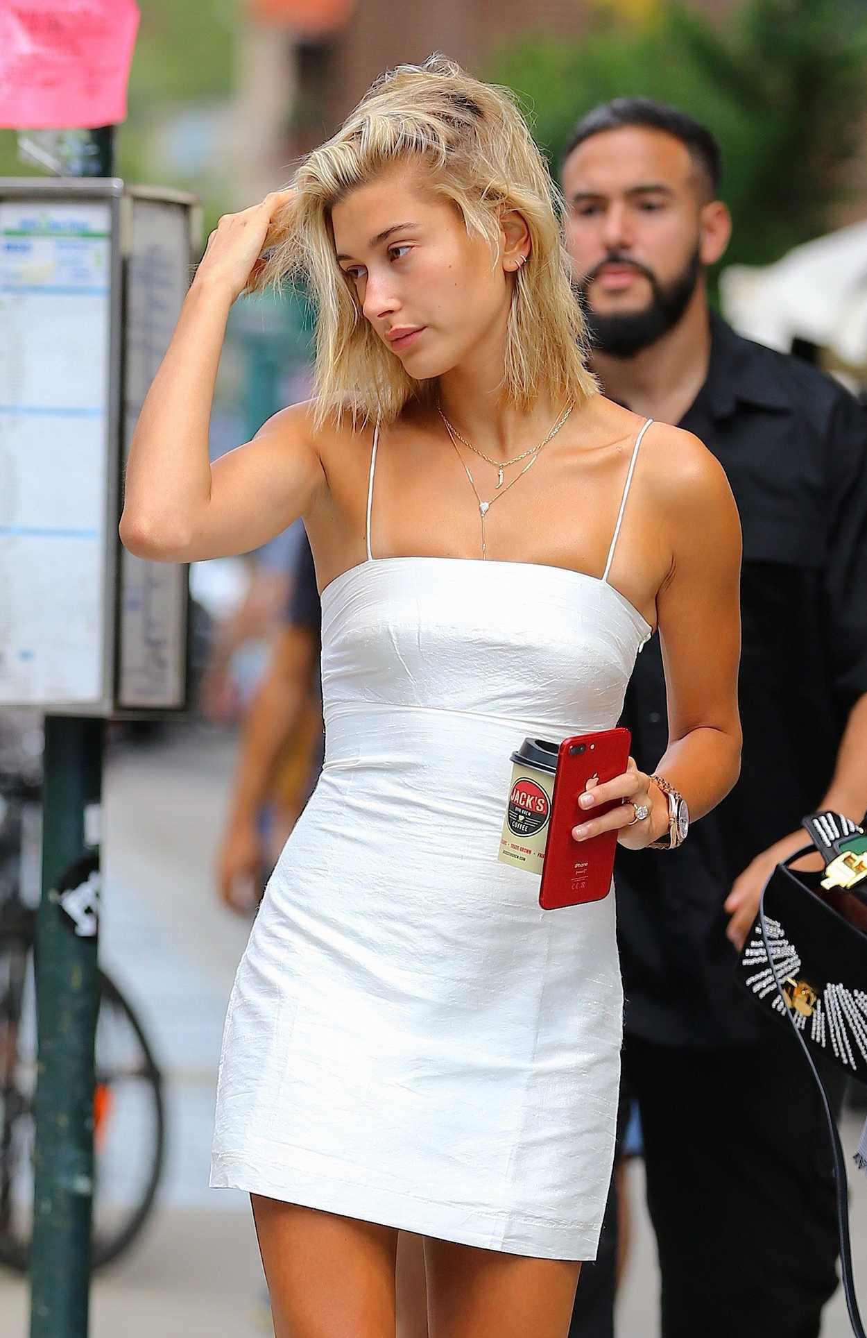Hailey Baldwin in a Short White Dress