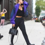Hailey Baldwin in Purple Track Top