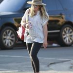 Hilary Duff in a Beige Hat
