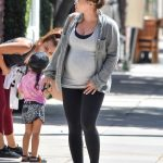 Hilary Duff in a Gray Denin Shirt