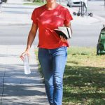 Jennifer Garner in a Red T-Shirt