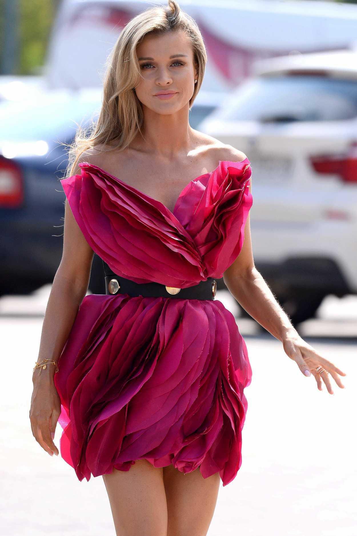 Joanna Krupa in a Red Babydoll Dress