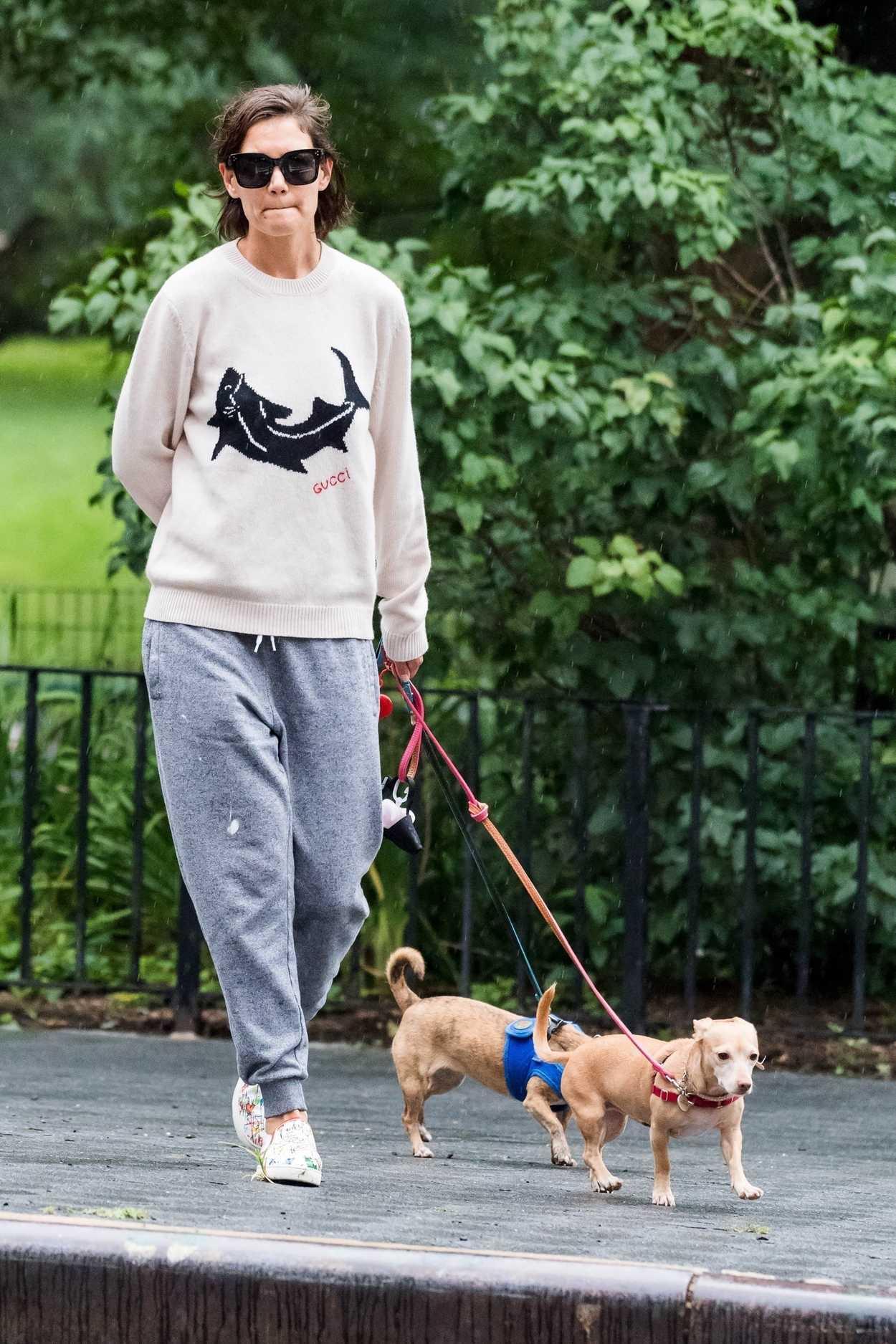 Katie Holmes in a Gucci Sweatshirt