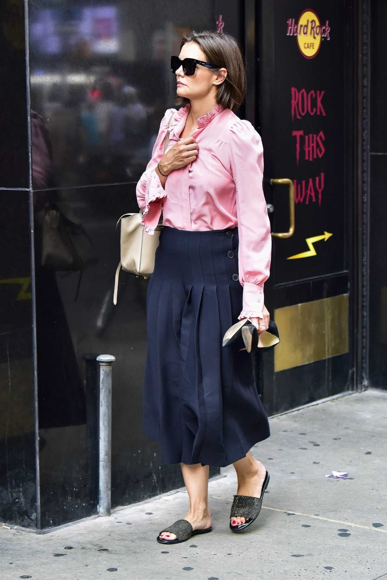 Katie Holmes in a Pink Blouse