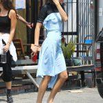 Kendall Jenner in a Blue Summer Dress