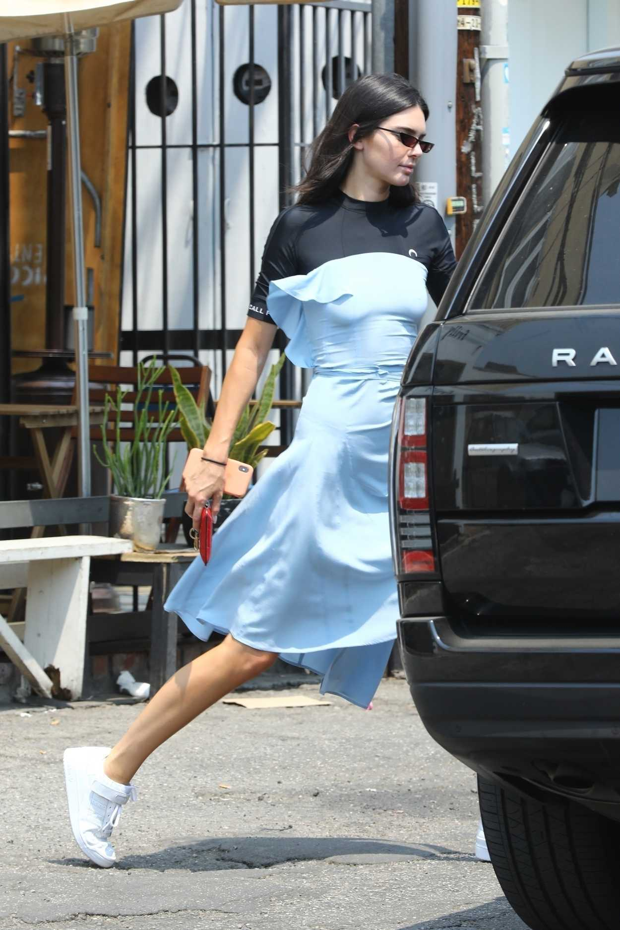 Kendall Jenner in a Blue Summer Dress