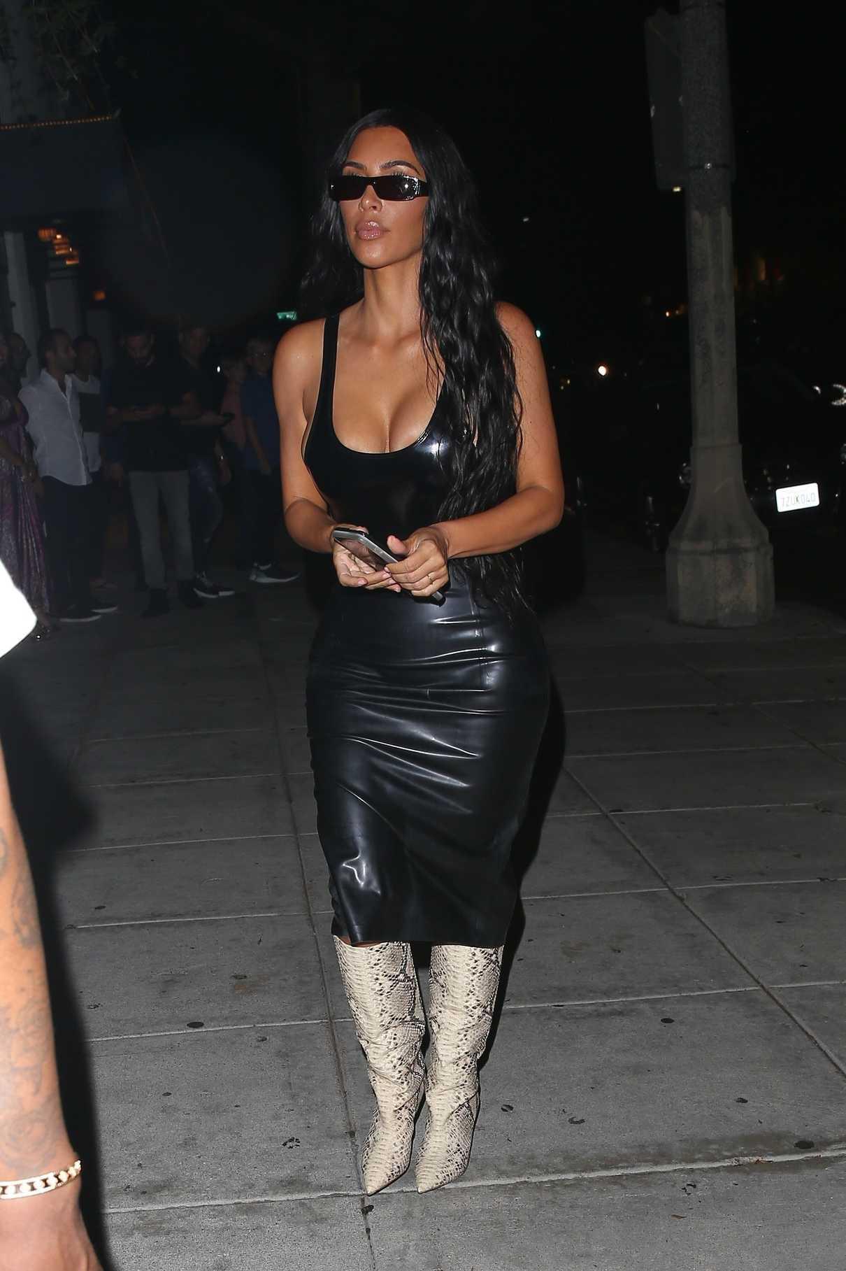 Kim Kardashian in a Black Leather Skirt