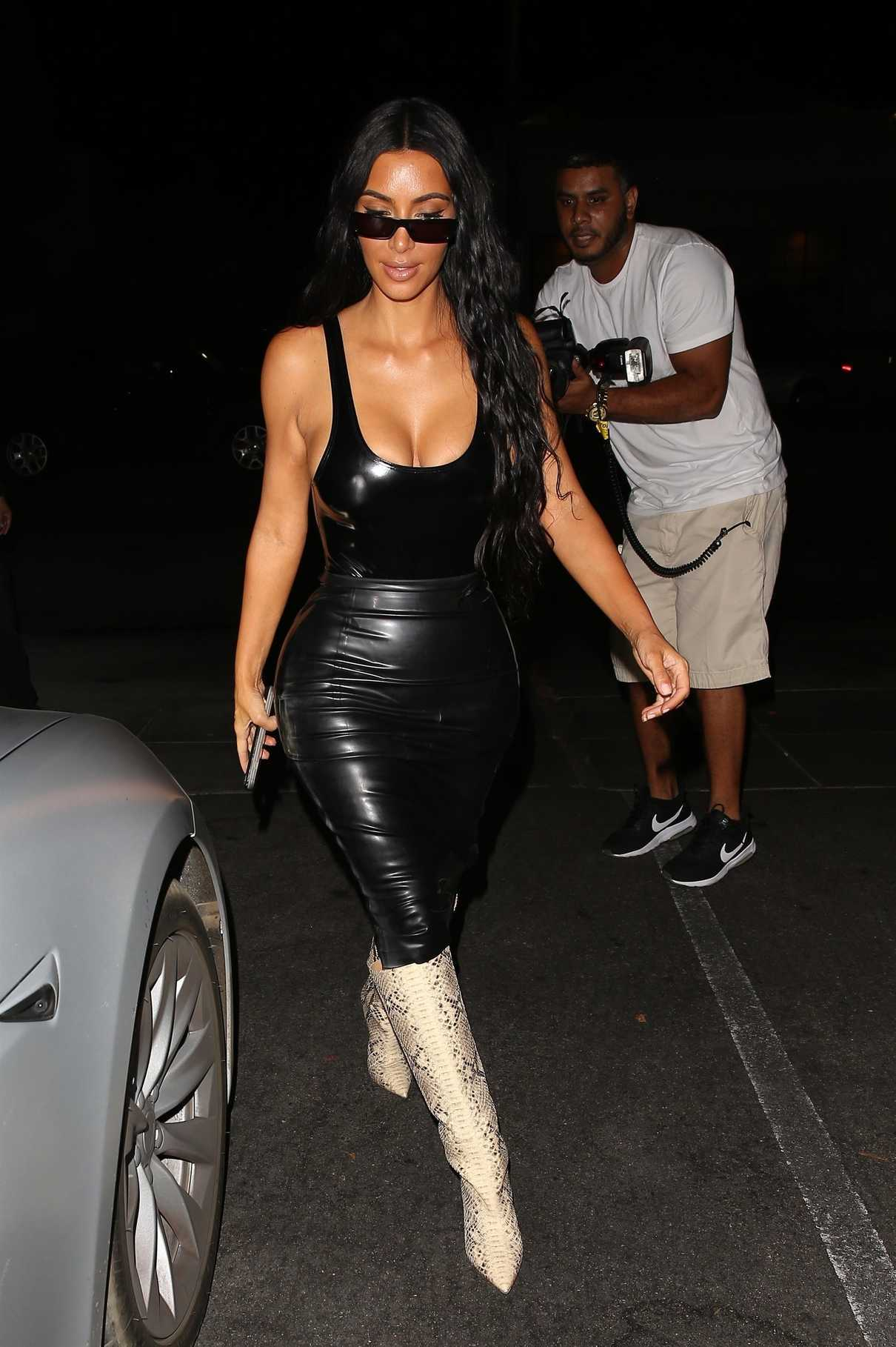 Kim Kardashian in a Black Leather Skirt