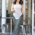 Kourtney Kardashian in a Long Grey Skirt