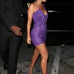 Kourtney Kardashian in a Short Purple Dress