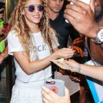 Shakira in a White Rock and Roll T-Shirt