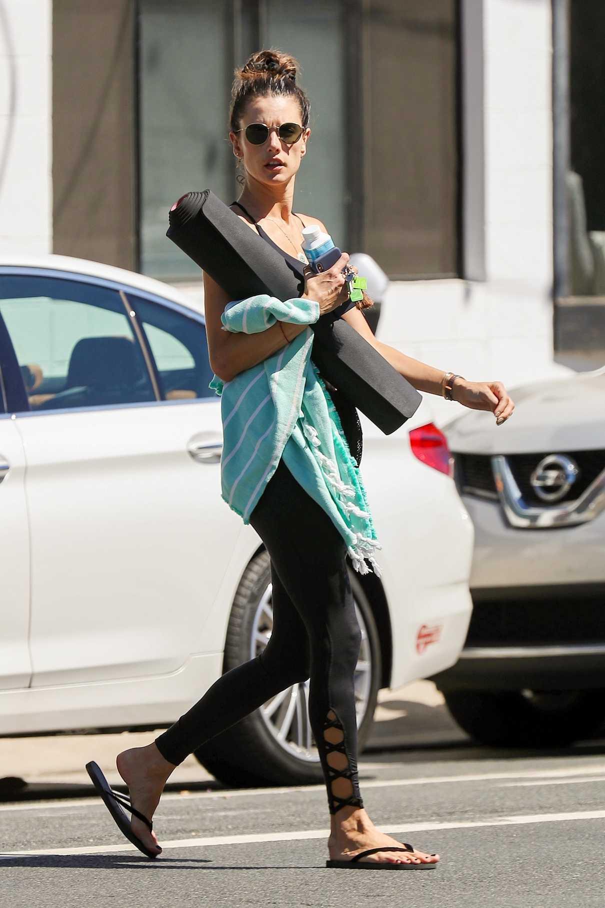 Alessandra Ambrosio in a Black Flip-Flops
