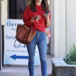 Alessandra Ambrosio in a Red Hoody