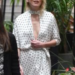 Amber Heard in a White Butterfly Print Dress