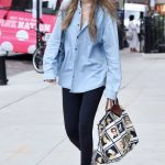 Gigi Hadid in a Blue Denim Shirt