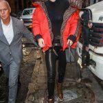 Gigi Hadid in a Red Fendi Down-Padded Coat