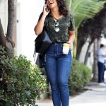 Gina Rodriguez in a Navy Rockstar Jeans