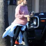 Hilary Duff in a Pink Sweatshirt
