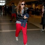 Isla Fisher in a Red Pants