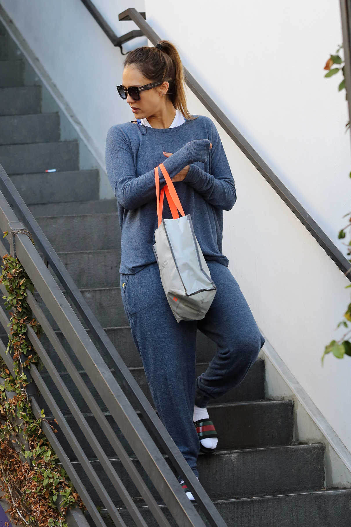 Jessica Alba in a Blue Sweatshirt