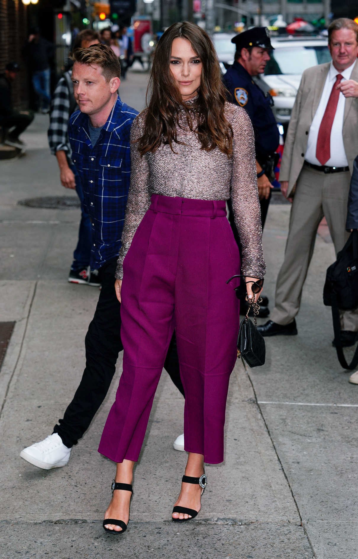 Keira Knightley in a Lilac Trousers