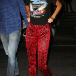 Kendall Jenner in a Red Animal Print Pants